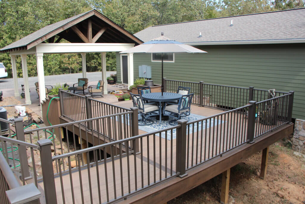 TimberTech decking on full outdoor living area. Beautiful pergola built by the sideco team