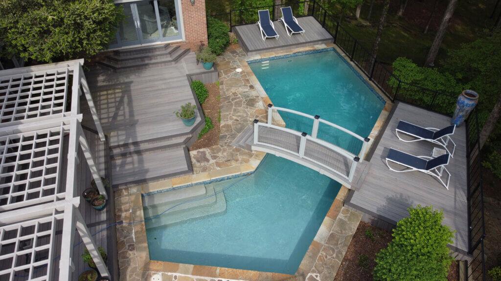 TimberTech Decking Bridge over pool