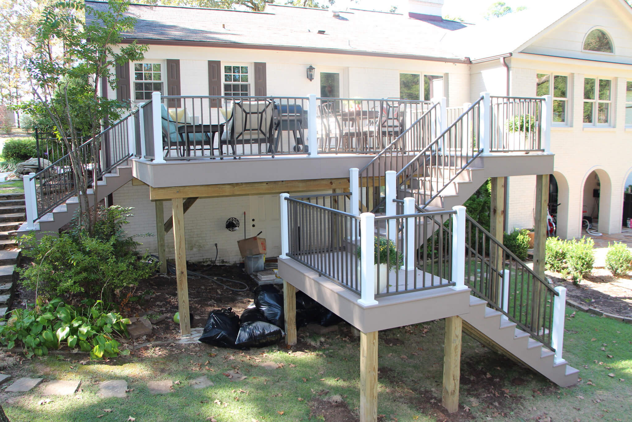 Durable TimberTech deck with staircase
